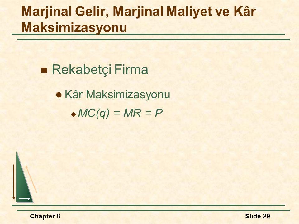 Chapter 8Slide 29 Rekabetçi Firma Kâr Maksimizasyonu  MC(q) = MR = P Marjinal Gelir, Marjinal Maliyet ve Kâr Maksimizasyonu