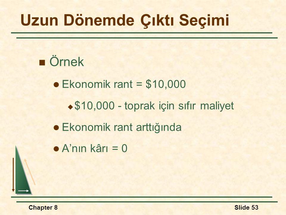 Chapter 8Slide 53 Uzun Dönemde Çıktı Seçimi Örnek Ekonomik rant = $10,000  $10,000 - toprak için sıfır maliyet Ekonomik rant arttığında A'nın kârı = 0
