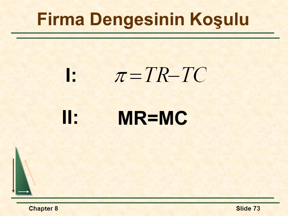 Chapter 8Slide 73 Firma Dengesinin Koşulu I: II: MR=MC