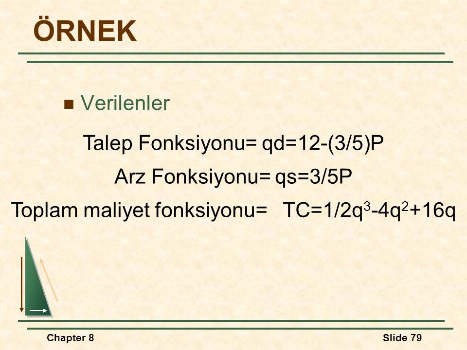 Chapter 8Slide 79 ÖRNEK Verilenler Talep Fonksiyonu= qd=12-(3/5)P Arz Fonksiyonu= qs=3/5P Toplam maliyet fonksiyonu= TC=1/2q 3 -4q 2 +16q