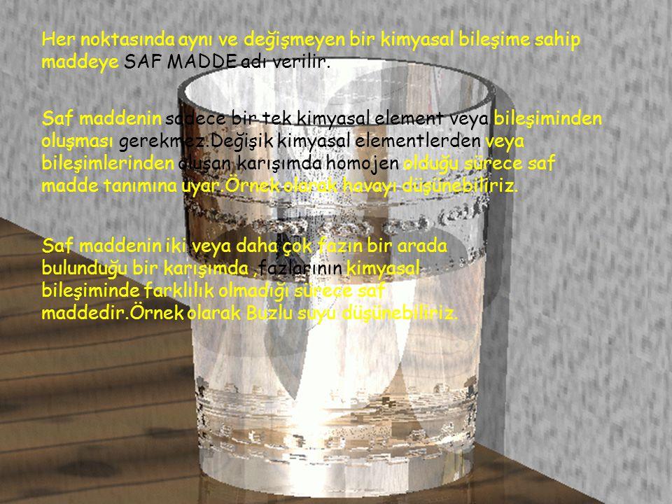 Her noktasında aynı ve değişmeyen bir kimyasal bileşime sahip maddeye SAF MADDE adı verilir. Saf maddenin sadece bir tek kimyasal element veya bileşim