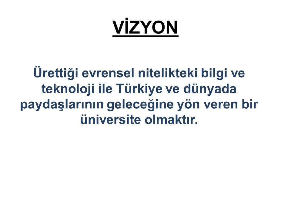 VİZYON Ürettiği evrensel nitelikteki bilgi ve teknoloji ile Türkiye ve dünyada paydaşlarının geleceğine yön veren bir üniversite olmaktır.