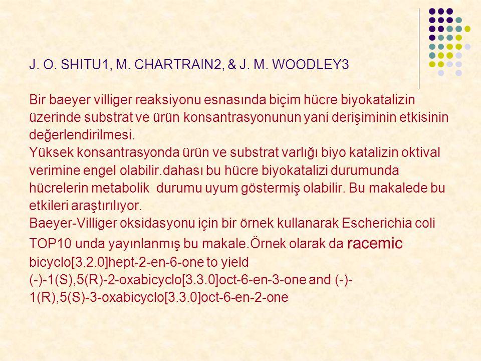 J. O. SHITU1, M. CHARTRAIN2, & J. M. WOODLEY3 Bir baeyer villiger reaksiyonu esnasında biçim hücre biyokatalizin üzerinde substrat ve ürün konsantrasy