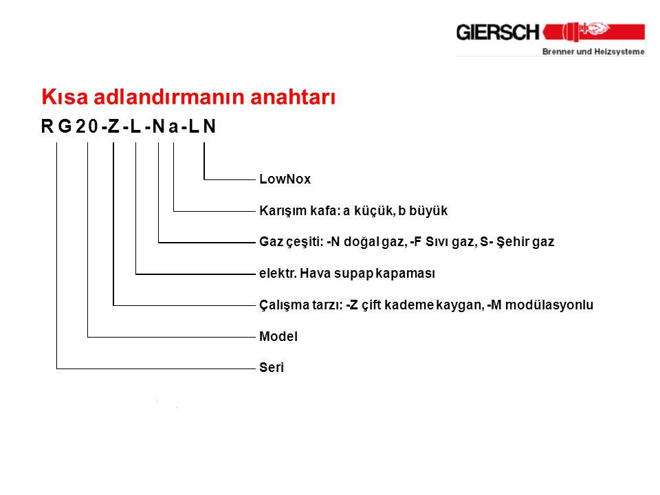 .. Kısa adlandırmanın anahtarı RG20-Z-L-Na-LN LowNox Karışım kafa: a küçük, b büyük Gaz çeşiti: -N doğal gaz, -F Sıvı gaz, S- Şehir gaz elektr. Hava s