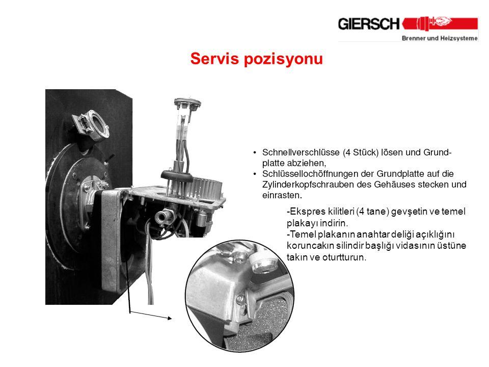 Servis pozisyonu -Ekspres kilitleri (4 tane) gevşetin ve temel plakayı indirin.