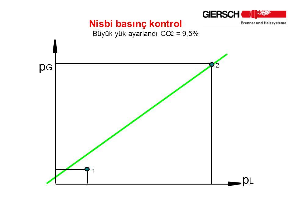 Nisbi basınç kontrol Büyük yük ayarlandı CO 2 = 9,5% p G p L 2 1