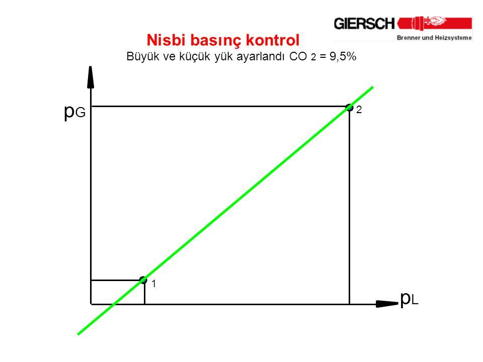 p G p L 2 1 Nisbi basınç kontrol Büyük ve küçük yük ayarlandı CO 2 = 9,5%