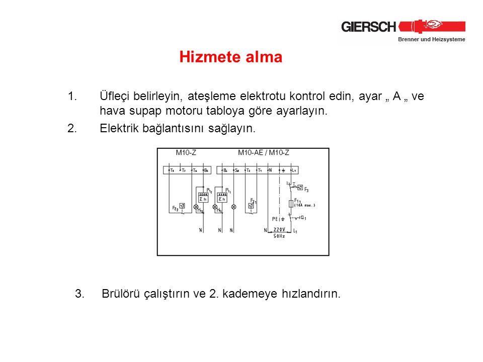 """1.Üfleçi belirleyin, ateşleme elektrotu kontrol edin, ayar """" A """" ve hava supap motoru tabloya göre ayarlayın. 2.Elektrik bağlantısını sağlayın. Hizmet"""