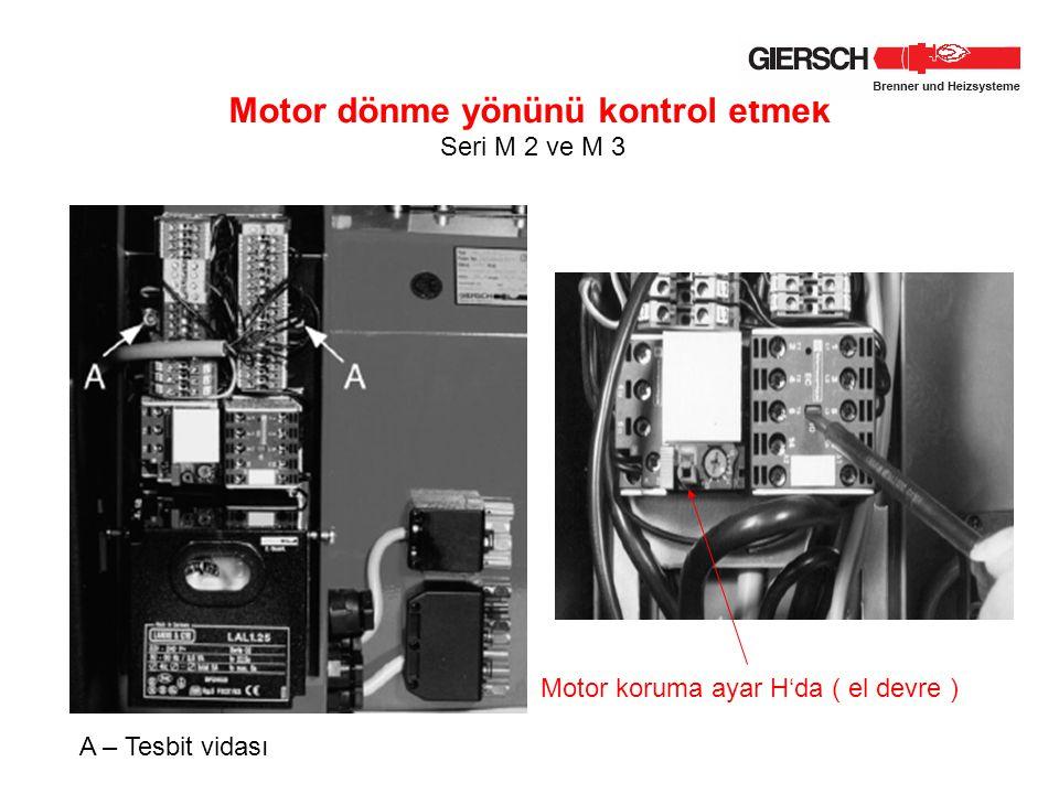 Motor dönme yönünü kontrol etmek Seri M 2 ve M 3 A – Tesbit vidası Motor koruma ayar H'da ( el devre )