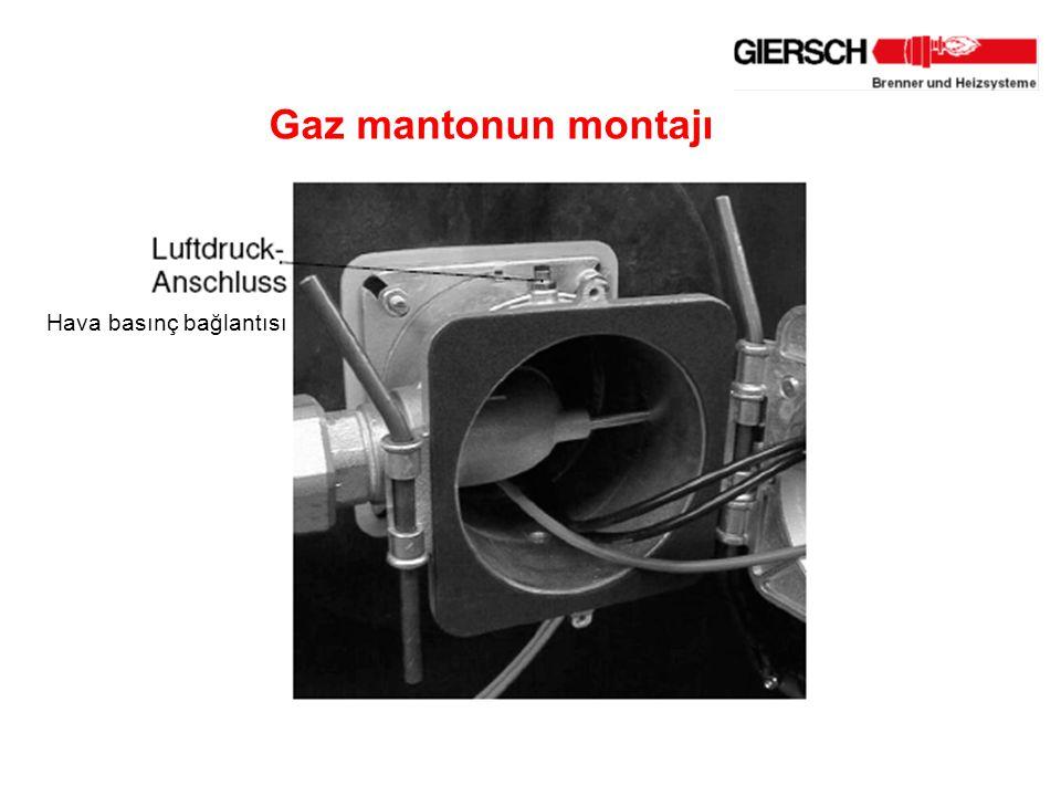 Gaz mantonun montajı Hava basınç bağlantısı