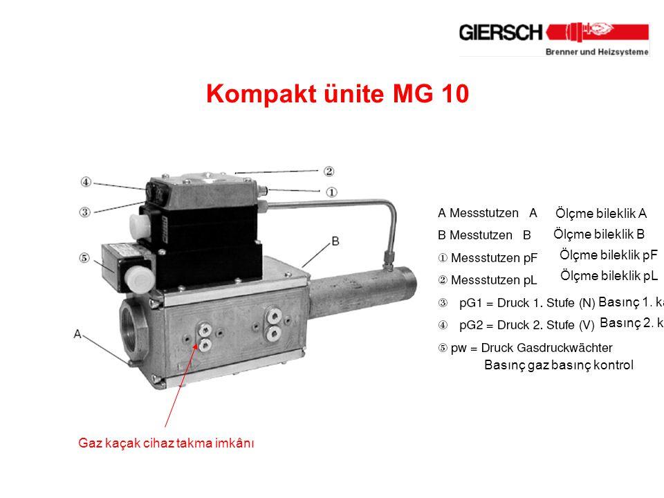 Kompakt ünite MG 10 Gaz kaçak cihaz takma imkânı Ölçme bileklik A Ölçme bileklik B Ölçme bileklik pF Ölçme bileklik pL Basınç 1.