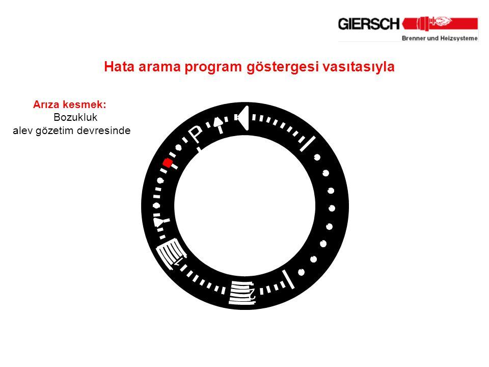 1 2 P Arıza kesmek: Bozukluk alev gözetim devresinde Hata arama program göstergesi vasıtasıyla