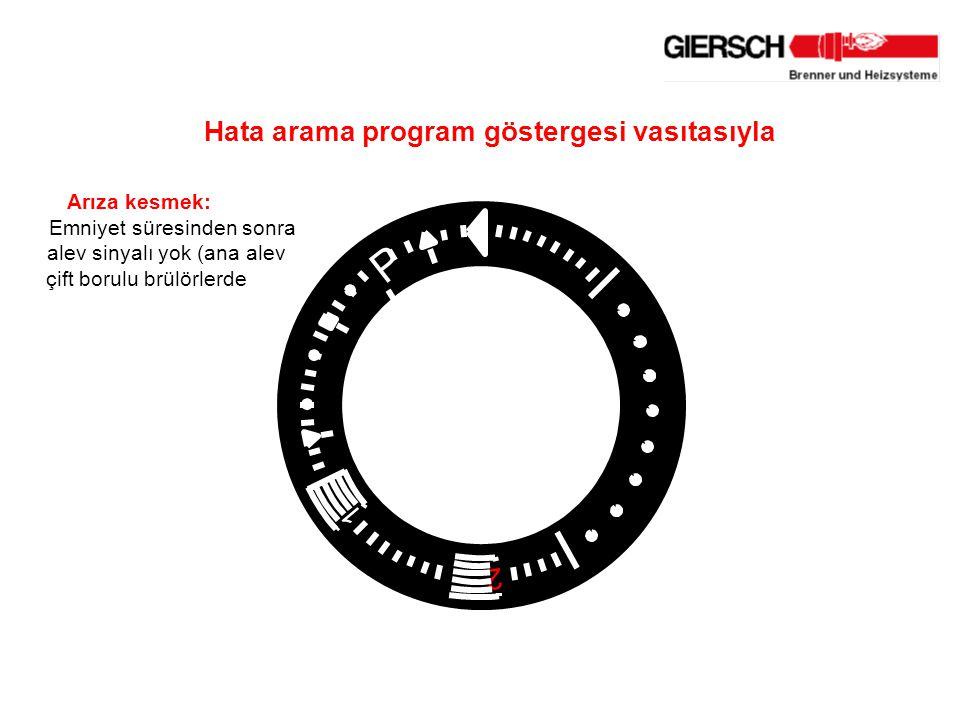Arıza kesmek: Emniyet süresinden sonra alev sinyalı yok (ana alev çift borulu brülörlerde 1 2 P Hata arama program göstergesi vasıtasıyla