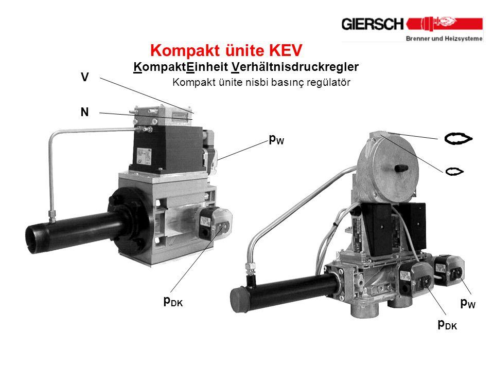 Kompakt ünite KEV KompaktEinheitVerhältnisdruckregler pWpW N V p DK pWpW Kompakt ünite nisbi basınç regülatör