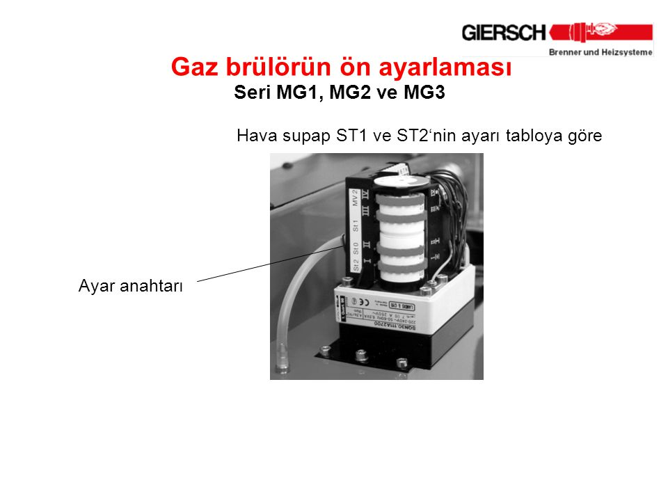 Gaz brülörün ön ayarlaması Seri MG1, MG2 ve MG3 Hava supap ST1 veST2'nin ayarı tabloya göre Ayar anahtarı