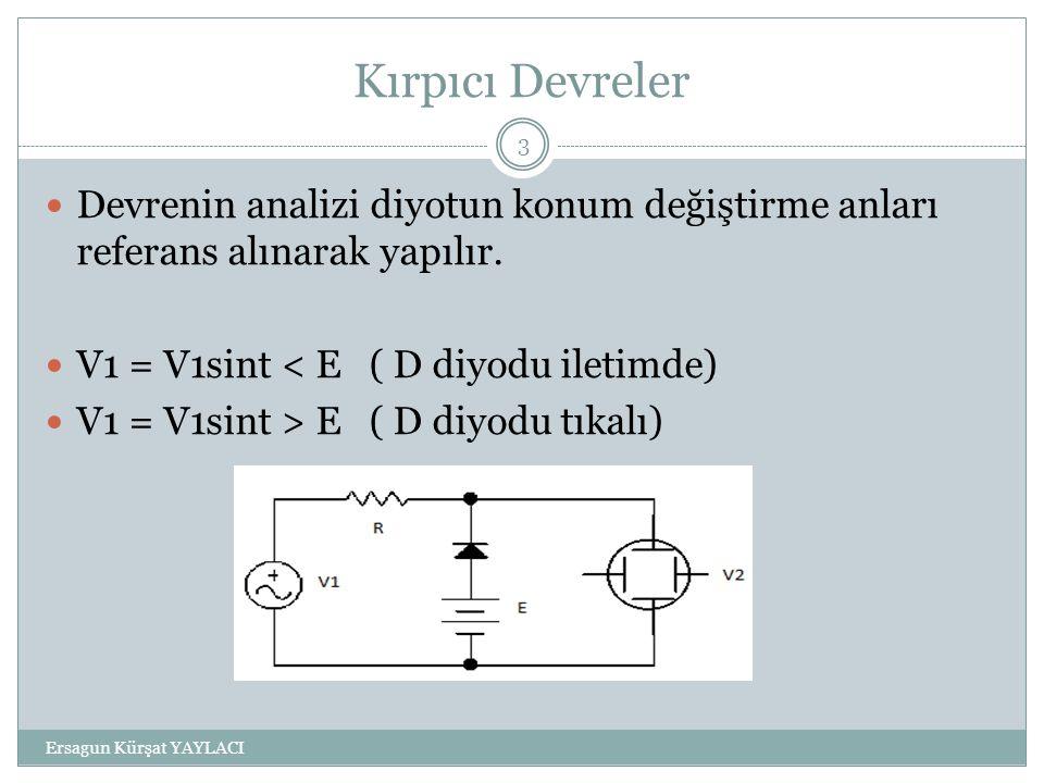 Kırpıcı Devreler Ersagun Kürşat YAYLACI 3 Devrenin analizi diyotun konum değiştirme anları referans alınarak yapılır. V1 = V1sint < E ( D diyodu ileti