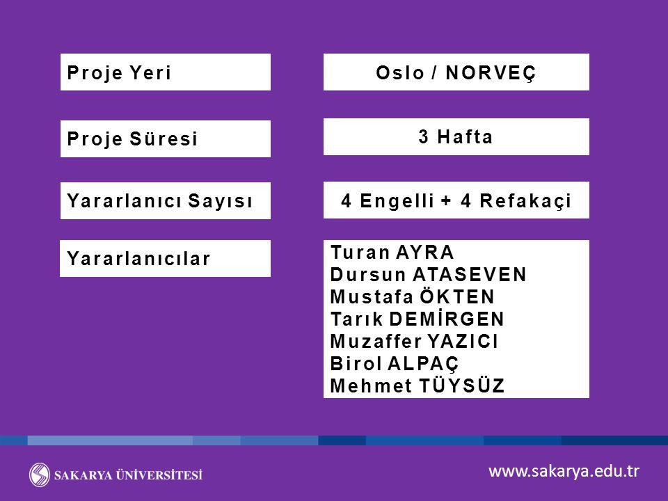 www.sakarya.edu.tr Proje Süresi Proje Yeri Yararlanıcı Sayısı Yararlanıcılar Oslo / NORVEÇ 3 Hafta 4 Engelli + 4 Refakaçi Turan AYRA Dursun ATASEVEN M