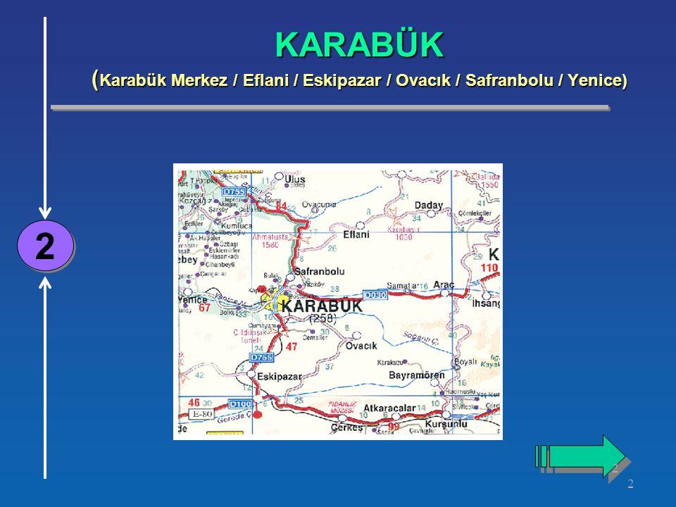 2 KARABÜK ( Karabük Merkez / Eflani / Eskipazar / Ovacık / Safranbolu / Yenice) 2 2 2 2