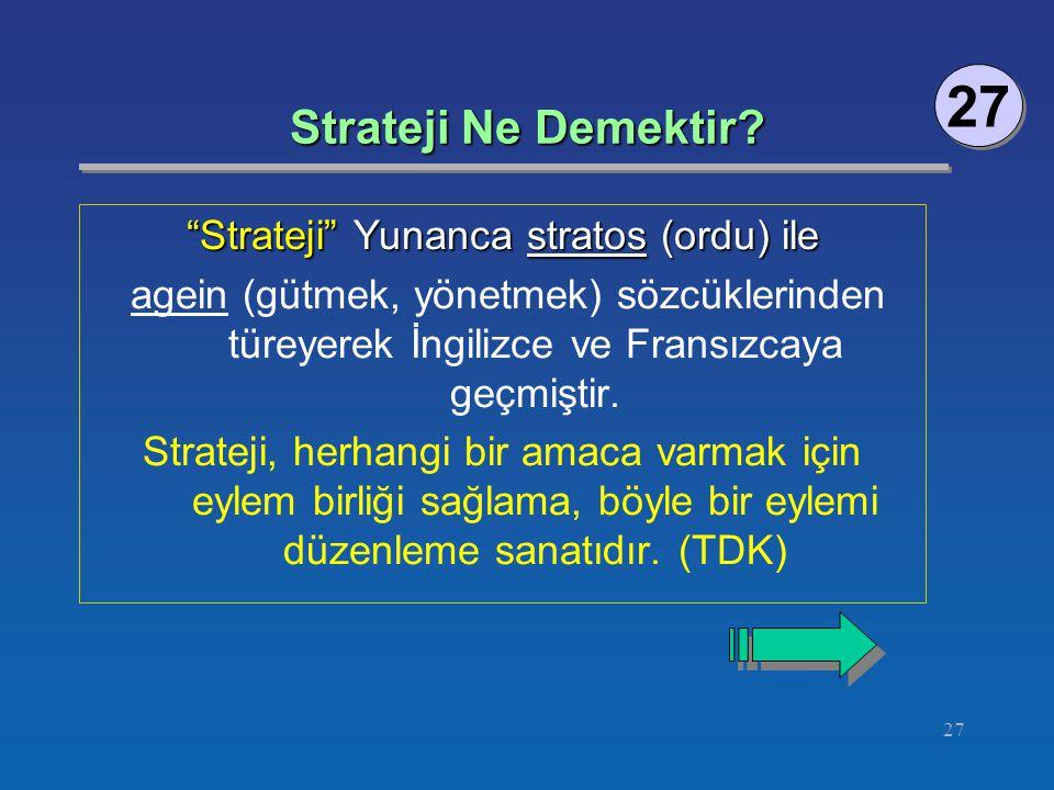 """27 Strateji Ne Demektir? 27 """"Strateji"""" Yunanca stratos (ordu) ile agein (gütmek, yönetmek) sözcüklerinden türeyerek İngilizce ve Fransızcaya geçmiştir"""