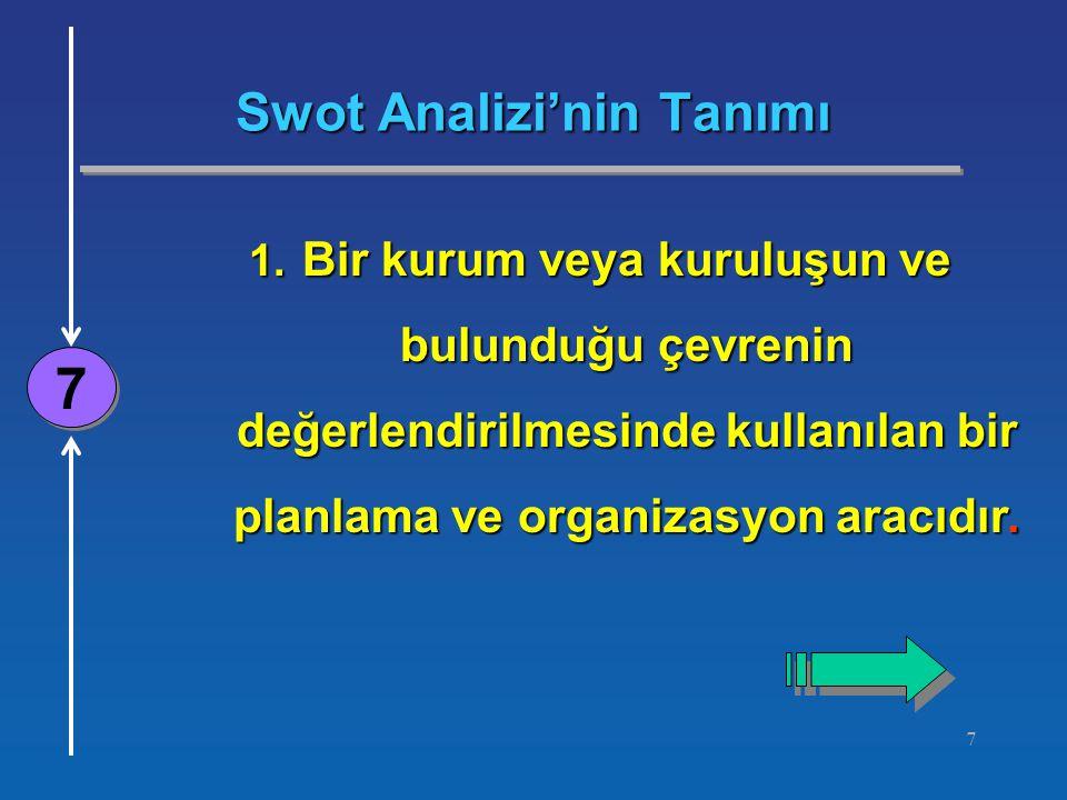 7 Swot Analizi'nin Tanımı 7 7 1. Bir kurum veya kuruluşun ve bulunduğu çevrenin değerlendirilmesinde kullanılan bir planlama ve organizasyon aracıdır.