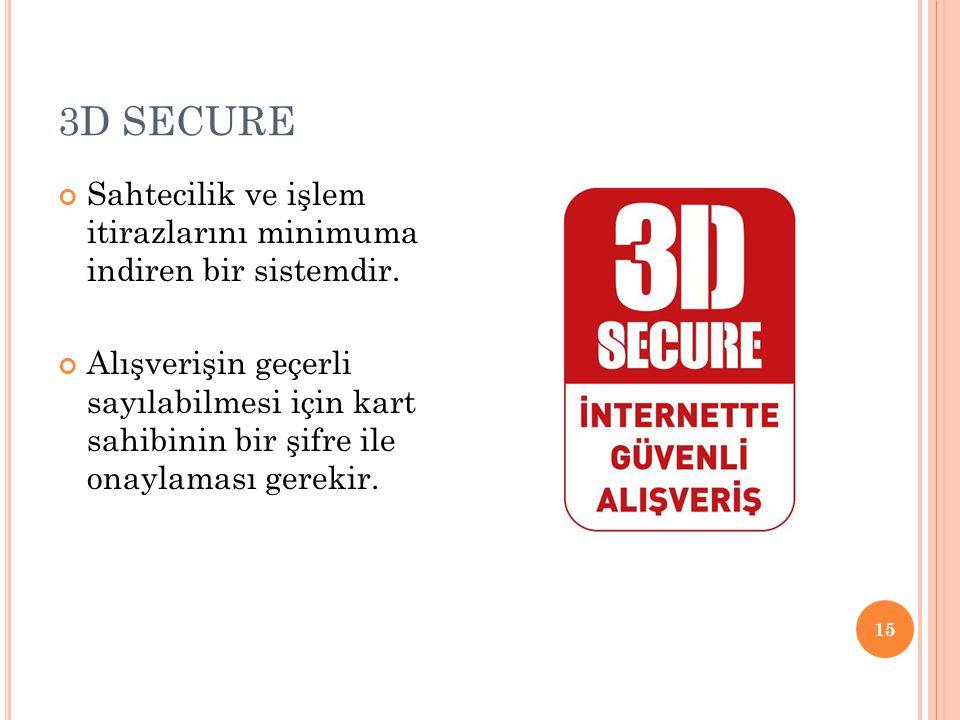 3D SECURE Sahtecilik ve işlem itirazlarını minimuma indiren bir sistemdir.