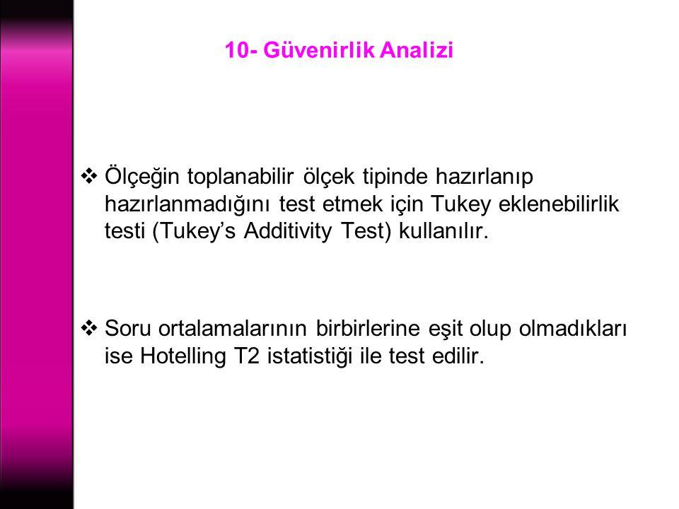 10- Güvenirlik Analizi  Ölçeğin toplanabilir ölçek tipinde hazırlanıp hazırlanmadığını test etmek için Tukey eklenebilirlik testi (Tukey's Additivity