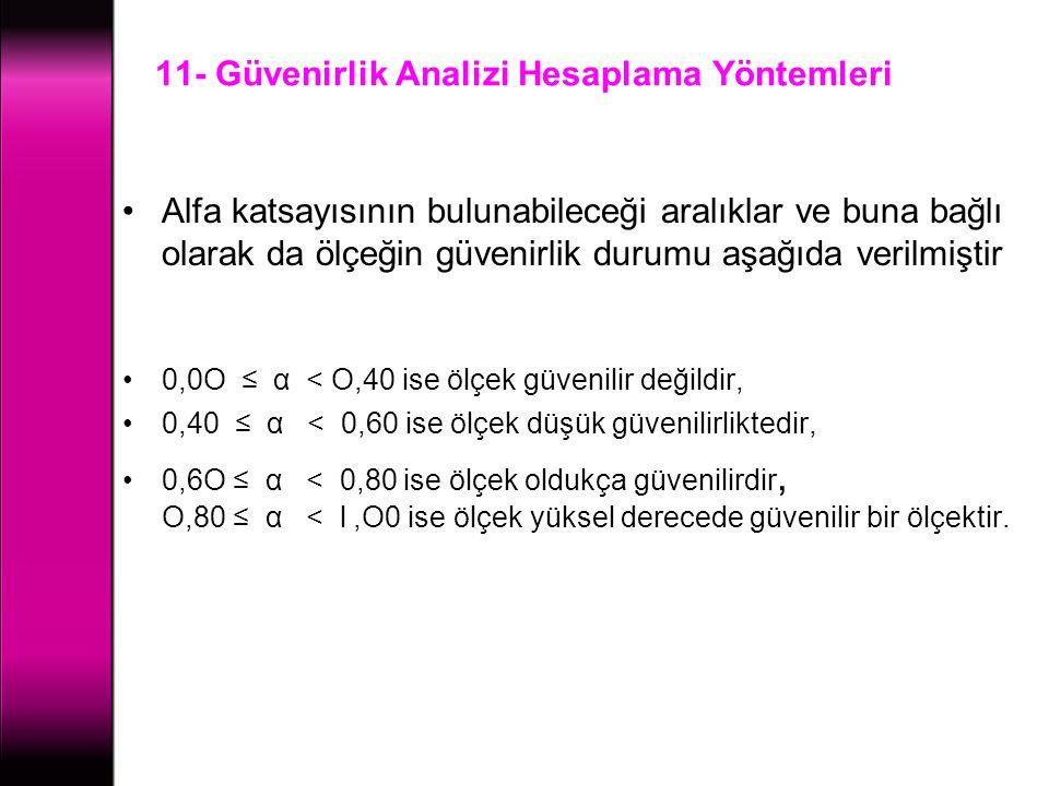11- Güvenirlik Analizi Hesaplama Yöntemleri Alfa katsayısının bulunabileceği aralıklar ve buna bağlı olarak da ölçeğin güvenirlik durumu aşağıda veril