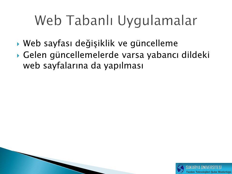  Web sayfası değişiklik ve güncelleme  Gelen güncellemelerde varsa yabancı dildeki web sayfalarına da yapılması
