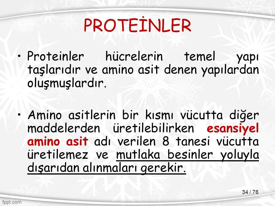 PROTEİNLER Proteinler hücrelerin temel yapı taşlarıdır ve amino asit denen yapılardan oluşmuşlardır. Amino asitlerin bir kısmı vücutta diğer maddelerd