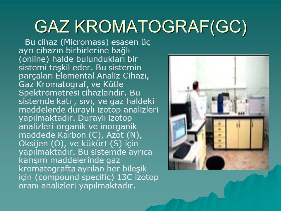 GAZ KROMATOGRAF(GC) Bu cihaz (Micromass) esasen üç ayrı cihazın birbirlerine bağlı (online) halde bulundukları bir sistemi teşkil eder.