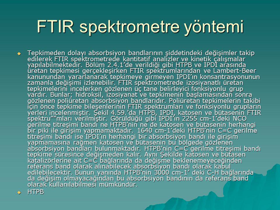 FTIR spektrometre yöntemi  Tepkimeden dolayı absorbsiyon bandlarının şiddetindeki değişimler takip edilerek FTIR spektrometrede kantitatif analizler ve kinetik çalışmalar yapılabilmektedir.