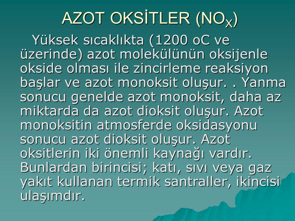 AZOT OKSİTLER (NO X ) AZOT OKSİTLER (NO X ) Yüksek sıcaklıkta (1200 oC ve üzerinde) azot molekülünün oksijenle okside olması ile zincirleme reaksiyon başlar ve azot monoksit oluşur..