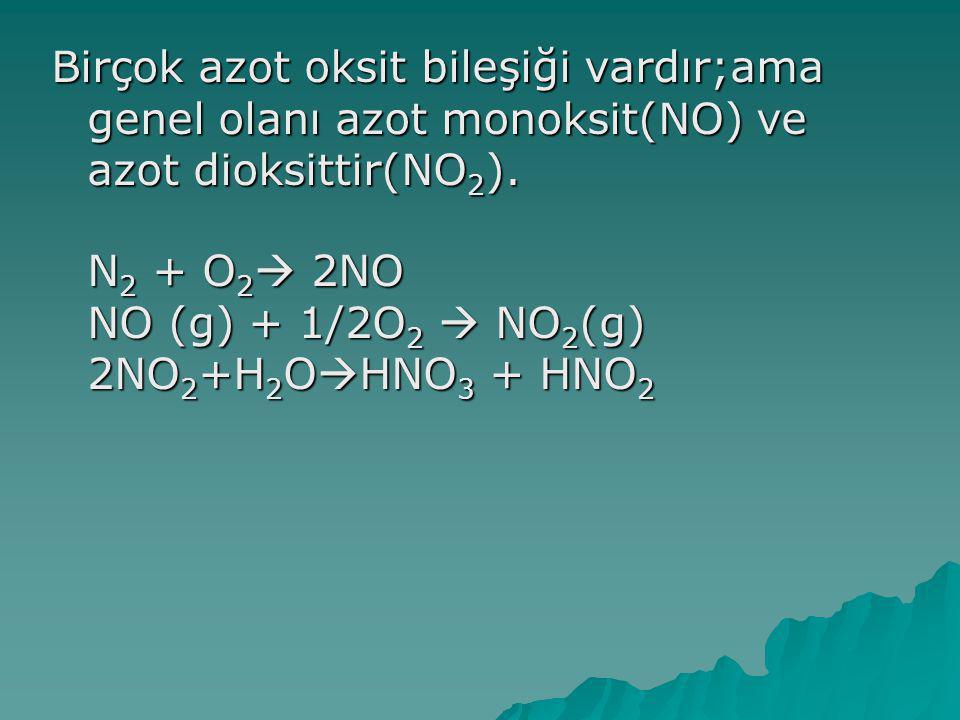 Birçok azot oksit bileşiği vardır;ama genel olanı azot monoksit(NO) ve azot dioksittir(NO 2 ).