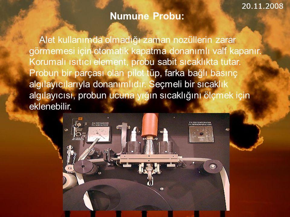 Numune Probu: Alet kullanımda olmadığı zaman nozüllerin zarar görmemesi için otomatik kapatma donanımlı valf kapanır.