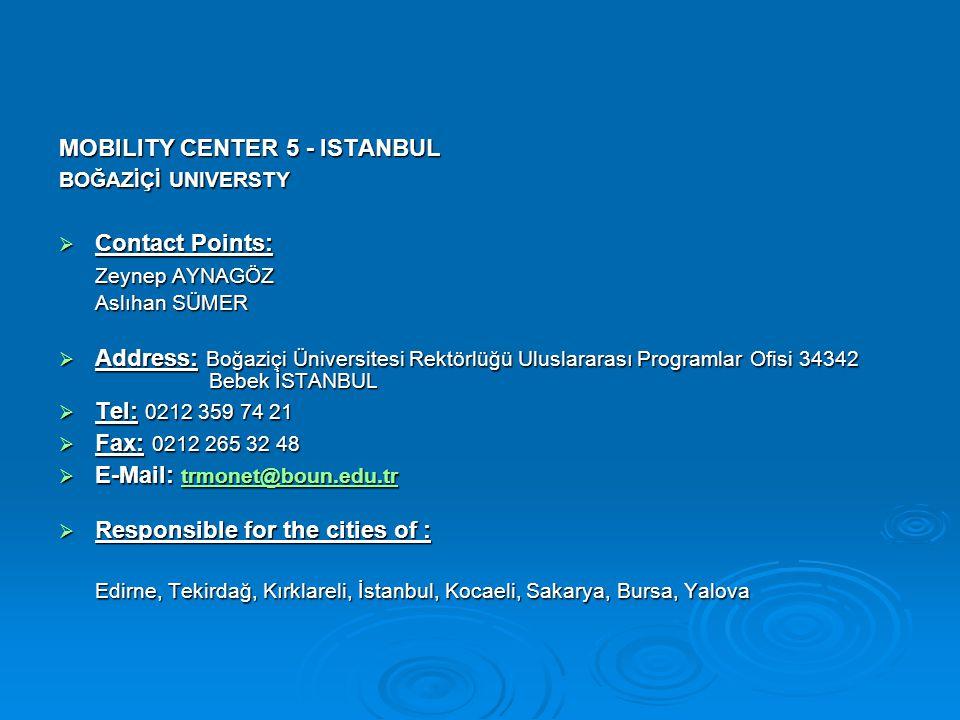 MOBILITY CENTER 5 - ISTANBUL BOĞAZİÇİ UNIVERSTY  Contact Points: Zeynep AYNAGÖZ Aslıhan SÜMER  Address: Boğaziçi Üniversitesi Rektörlüğü Uluslararas