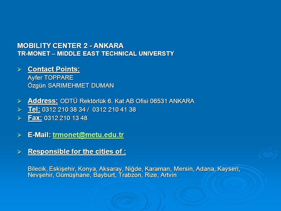 MOBILITY CENTER 3 - IZMIR EGE UNIVERSITY EBİLTEM  Contact Points: S.Sevkan SOYUER İpek AKAD  Address: Ege Üniversitesi EBİLTEM 35100 Bornova İZMİR  Tel: 0232 339 25 92  Fax: 0232 374 42 89  E-Mail: trmonet@ebiltem.ege.edu.tr trmonet@ebiltem.ege.edu.tr  Responsible for the cities of : Çanakkale, Balıkesir, Kütahya, Manisa, İzmir, Uşak, Afyon, Isparta, Burdur, Antalya, Muğla, Aydın, Denizli