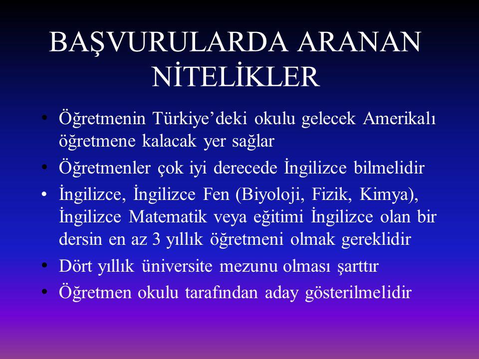 BAŞVURULARDA ARANAN NİTELİKLER Öğretmenin Türkiye'deki okulu gelecek Amerikalı öğretmene kalacak yer sağlar Öğretmenler çok iyi derecede İngilizce bil