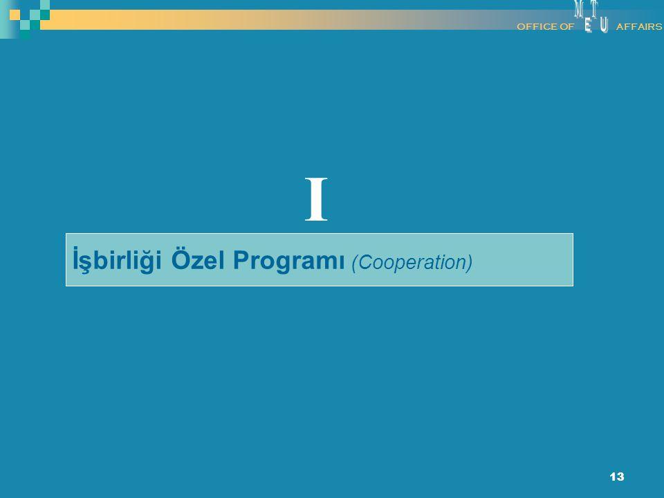 13 İşbirliği Özel Programı (Cooperation) I OFFICE OFAFFAIRS