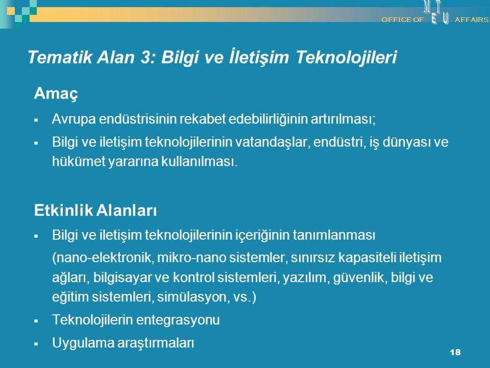 18 Amaç  Avrupa endüstrisinin rekabet edebilirliğinin artırılması;  Bilgi ve iletişim teknolojilerinin vatandaşlar, endüstri, iş dünyası ve hükümet