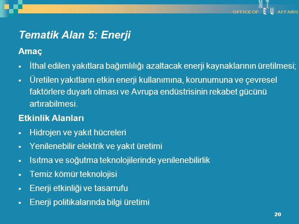 20 Amaç  İthal edilen yakıtlara bağımlılığı azaltacak enerji kaynaklarının üretilmesi;  Üretilen yakıtların etkin enerji kullanımına, korunumuna ve