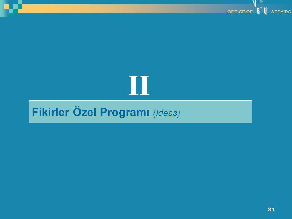 31 Fikirler Özel Programı (Ideas) II OFFICE OFAFFAIRS