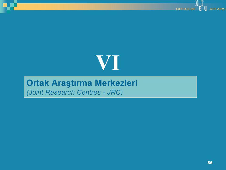 56 Ortak Araştırma Merkezleri (Joint Research Centres - JRC) VI OFFICE OFAFFAIRS
