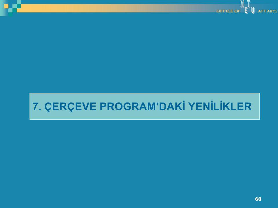60 7. ÇERÇEVE PROGRAM'DAKİ YENİLİKLER OFFICE OFAFFAIRS