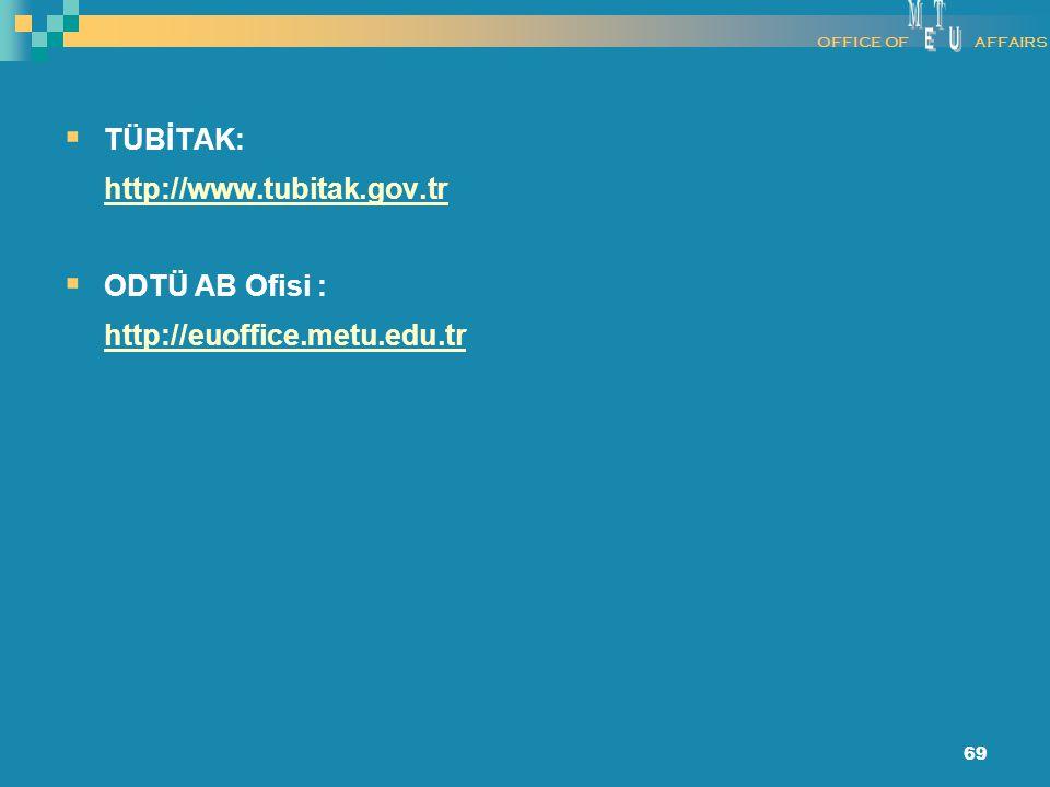 69  TÜBİTAK: http://www.tubitak.gov.tr  ODTÜ AB Ofisi : http://euoffice.metu.edu.tr OFFICE OFAFFAIRS
