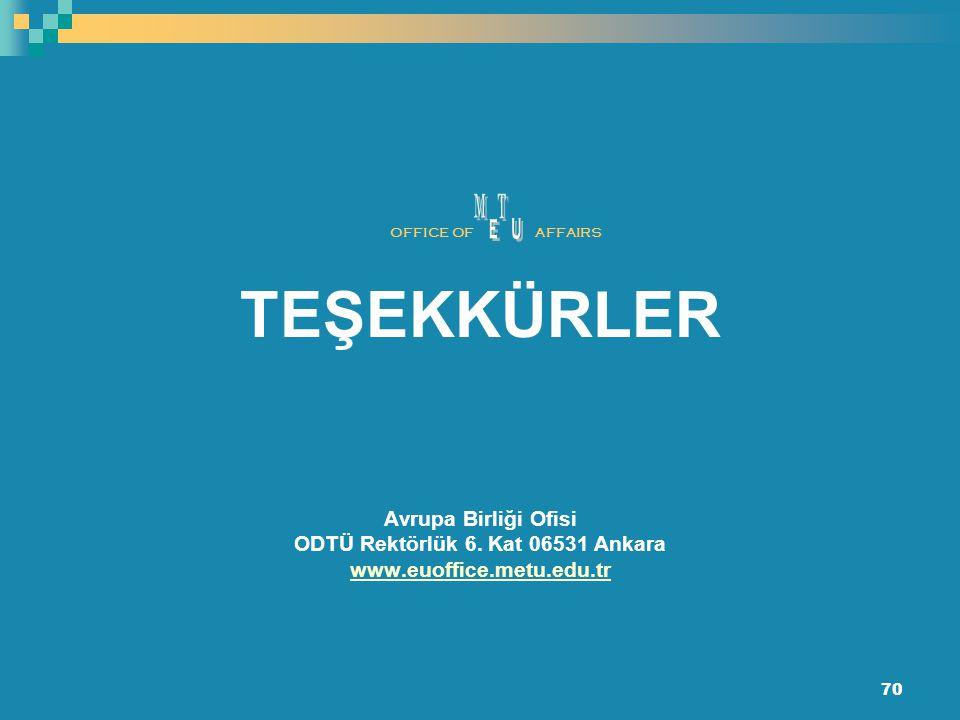 70 TEŞEKKÜRLER Avrupa Birliği Ofisi ODTÜ Rektörlük 6. Kat 06531 Ankara www.euoffice.metu.edu.tr OFFICE OFAFFAIRS
