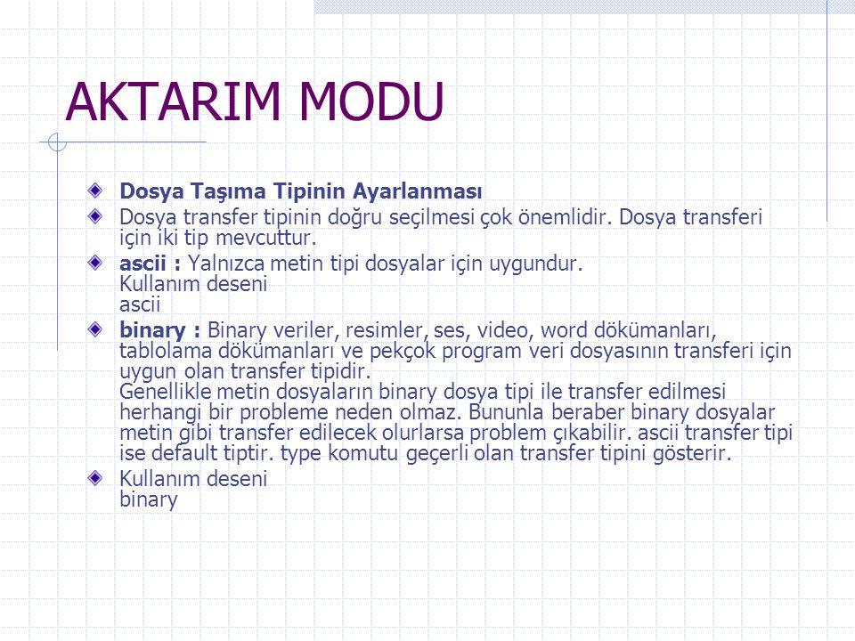 AKTARIM MODU Dosya Taşıma Tipinin Ayarlanması Dosya transfer tipinin doğru seçilmesi çok önemlidir. Dosya transferi için iki tip mevcuttur. ascii : Ya