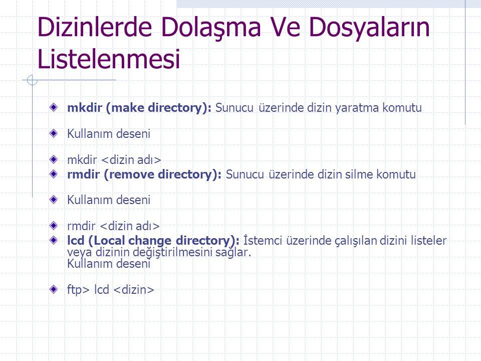 Dizinlerde Dolaşma Ve Dosyaların Listelenmesi mkdir (make directory): Sunucu üzerinde dizin yaratma komutu Kullanım deseni mkdir rmdir (remove directo