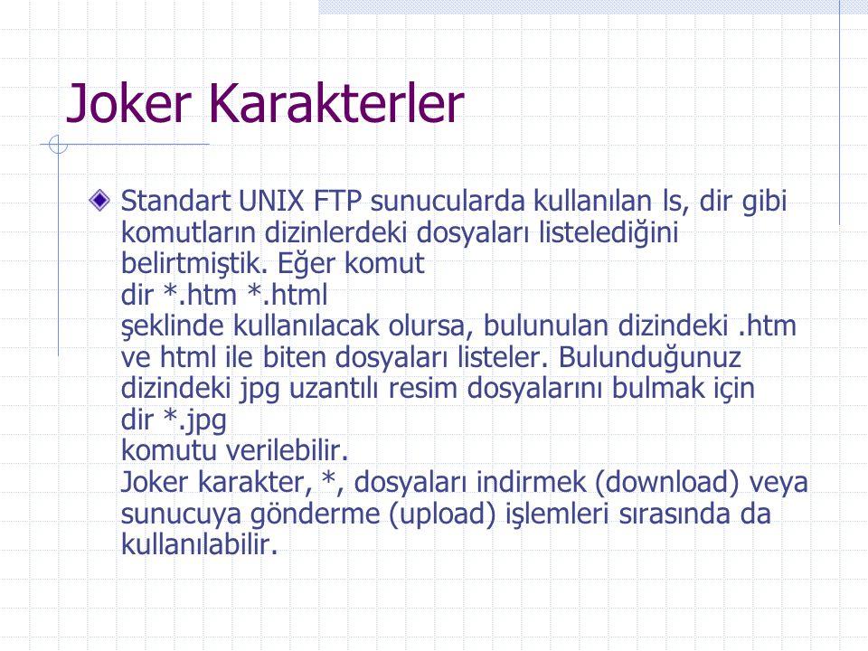 Joker Karakterler Standart UNIX FTP sunucularda kullanılan ls, dir gibi komutların dizinlerdeki dosyaları listelediğini belirtmiştik. Eğer komut dir *