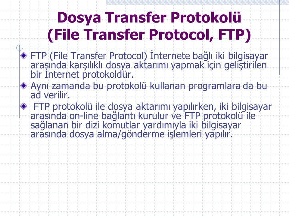 Dosya Transfer Protokolü (File Transfer Protocol, FTP) FTP (File Transfer Protocol) İnternete bağlı iki bilgisayar arasında karşılıklı dosya aktarımı