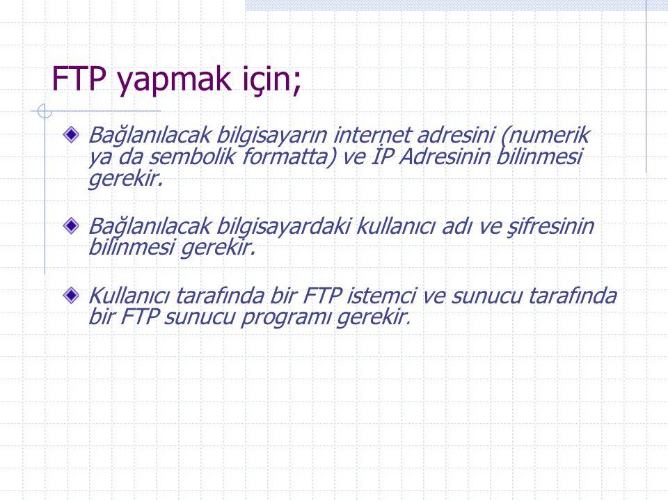 FTP yapmak için; Bağlanılacak bilgisayarın internet adresini (numerik ya da sembolik formatta) ve İP Adresinin bilinmesi gerekir. Bağlanılacak bilgisa